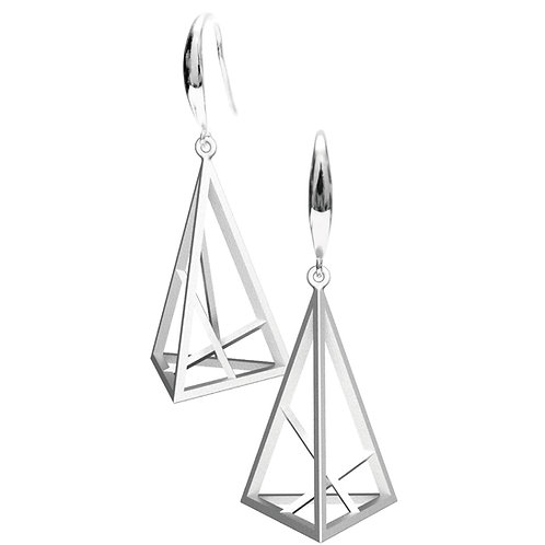 Spacing Triangle Earrings L Size (Rhodium Plated) | Sense of Space Collection