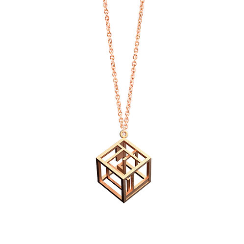 Spacing Cube Necklace (14K Rose Gold Plated) | Sense of Space Colle