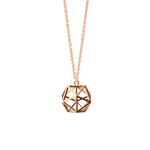Spacing Icosahedron  Necklace (14K Rose Gold Plated) | Sense of Space Colle