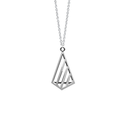 illusion Triangle Necklace S Size (Rhodium Plated) | illusion Collection