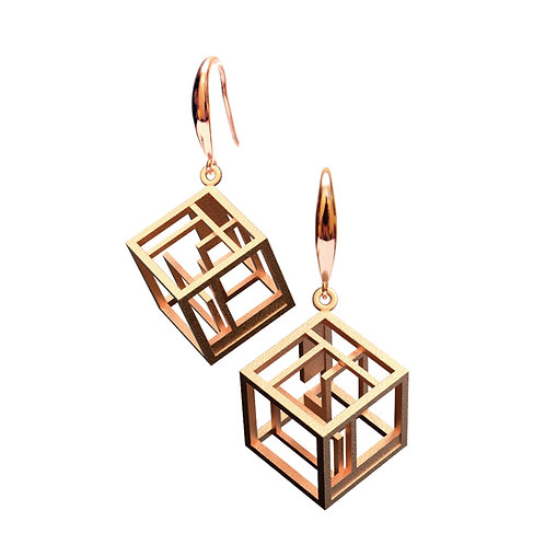 Spacing Cube Earrings (14K Rose Gold Plated) | Sense of Space Collection