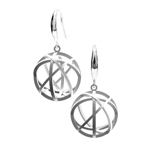 Spacing Sphere Earrings (Rhodium Plated) | Sense of Space Collection