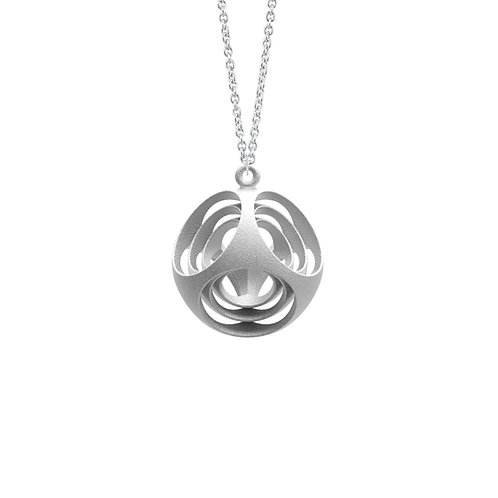 Scaling Rounded Cube Necklace (Rhodium Plated) | Scaling Collection