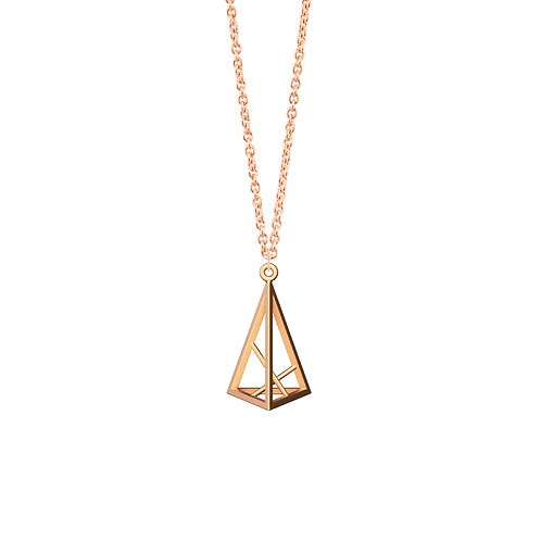 Spacing Triangle Necklace S Size (14K Rose Gold Plated) | Sense of Space