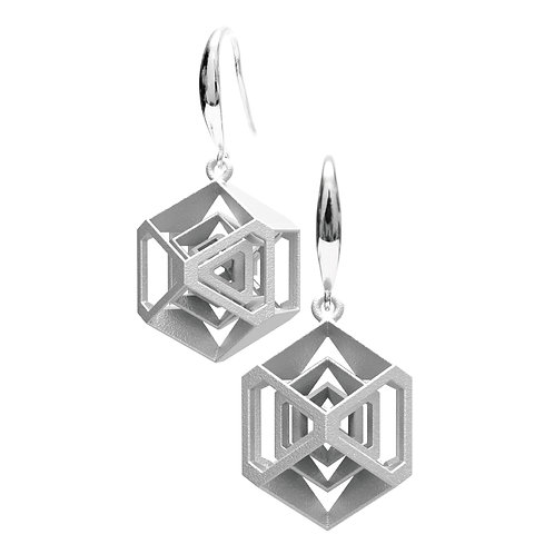 Turner's Diamond Earrings (Rhodium Plated) | Scaling Collection