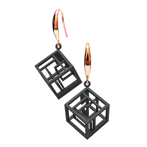 Spacing Cube Earrings (Black) | Sense of Space Collection