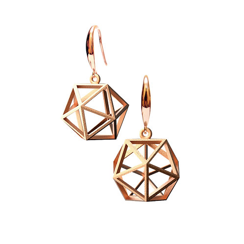 Spacing icosahedron Earrings (14K Rose Gold Plated) | Sense of Space Collectio