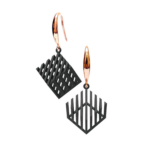 Op Cube Earring (Black) | illusion Collection