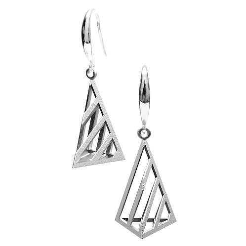 Op Triangle Earring S Size (Rhodium Plated) | illusion Collection