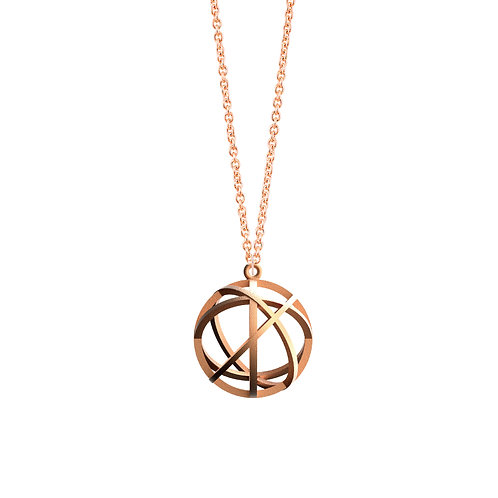 Spacing Sphere Necklace (14K Rose Gold Plated) | Sense of Space Colle