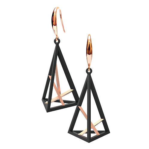Spacing Triangle Earrings L Size (Mix 14K Rose Gold Plated) | Sense of Space