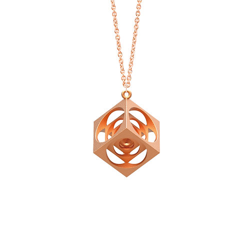 Scaling Cube Necklace (14K Rose Gold Plated) | Scaling Collection