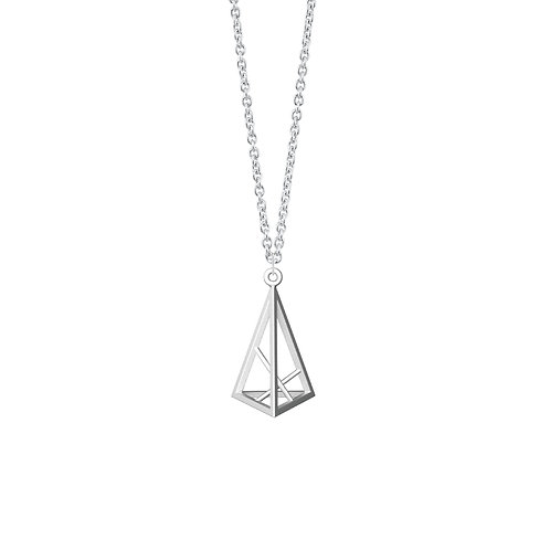 Spacing Triangle Necklace S Size (Rhodium Plated) | Sense of Space Colle