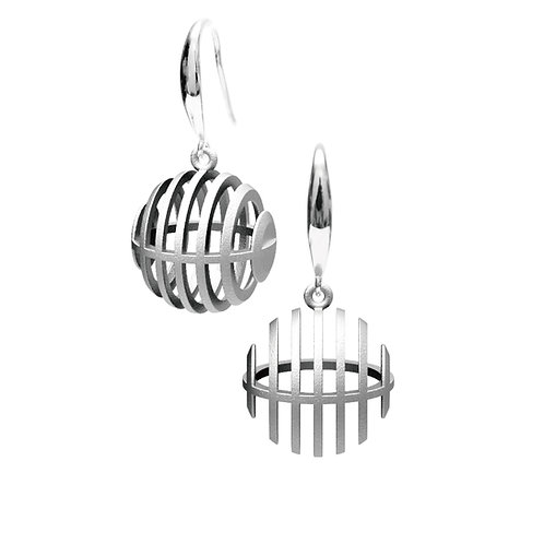 Op Sphere Earring (Rhodium Plated) | illusion Collection