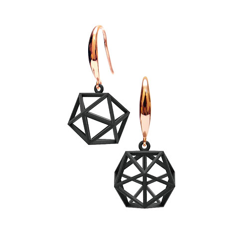 Spacing icosahedron Earrings (Black) | Sense of Space Collection