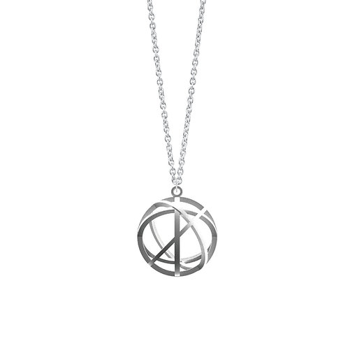 Spacing Sphere Necklace (Rhodium Plated) | Sense of Space Collection