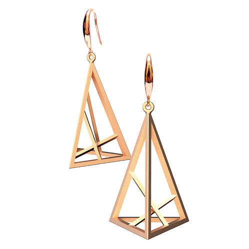Spacing Triangle Earrings L Size (14K Rose Gold Plated) | Sense of Space
