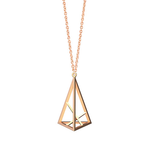 Spacing Triangle Necklace L Size (14K Rose Gold Plated) | Sense of Space Co