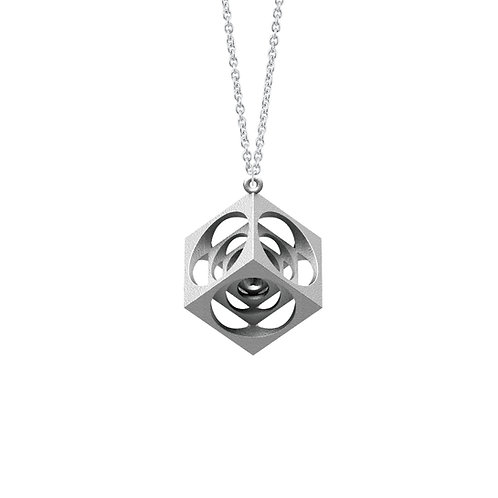 Scaling Cube Necklace (Rhodium Plated) | Scaling Collection