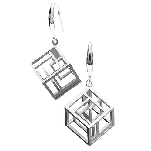 Spacing Cube Earrings (Rhodium Plated) | Sense of Space Collection