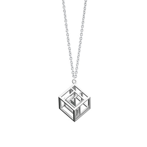 Spacing Cube Necklace (Rhodium Plated) | Sense of Space Collection