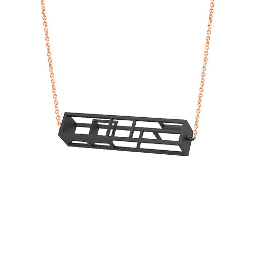 Spacing Rectangle Necklace (Black) | Sense of Space Collection