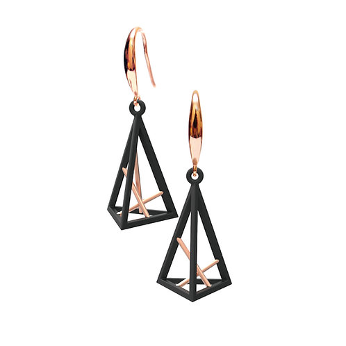 Spacing Triangle Earrings S Size (Mix 14K Rose Gold Plated) | Sense of Space