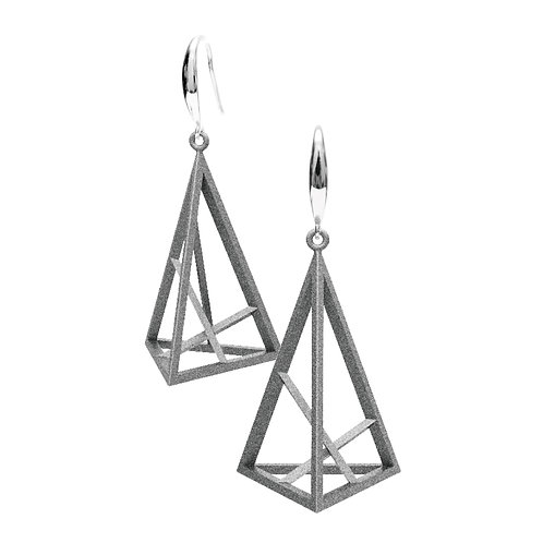 Spacing Triangle Earrings L Size (Grey) | Sense of Space Collection