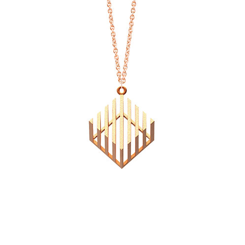 illusion Cube Necklace (14K Rose Gold Plated) | illusion Collection