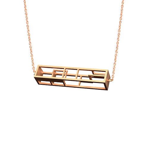 Spacing Rectangle Necklace (14K Rose Gold Plated) | Sense of Space Collection