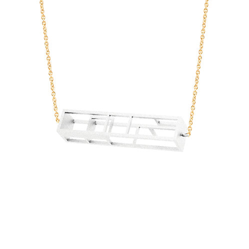 Spacing Rectangle Necklace (White) | Sense of Space Collection