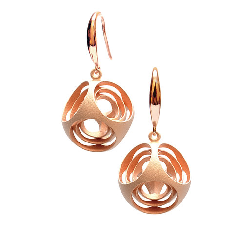 Turner's Rounded Cube Earrings (14K Rose Gold Plated) | Scaling Collection