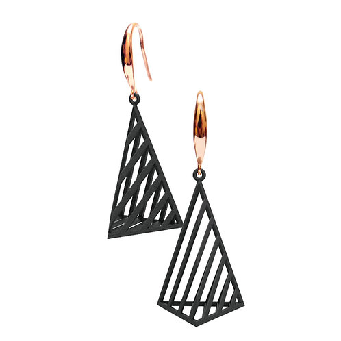 Op Triangle Earring L Size (Black) | illusion Collection