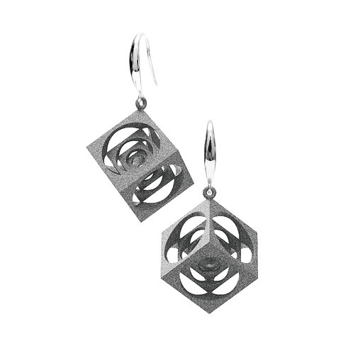 Turner's Cube Earrings (Grey) | Scaling Collection