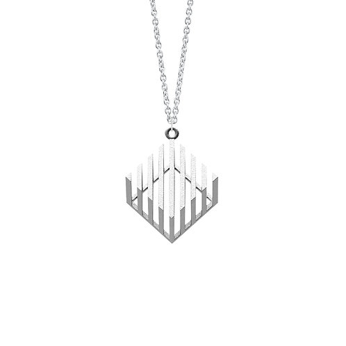 illusion Cube Necklace (Rhodium Plated) | illusion Collection