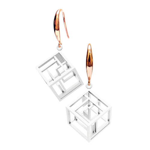 Spacing Cube Earrings (White) | Sense of Space Collection