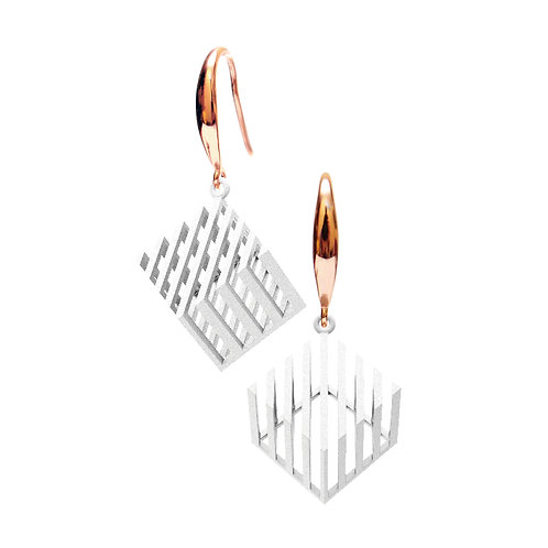 Op Cube Earring (White) | illusion Collection