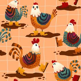 Chicken in muddy boots [Surface Pattern]