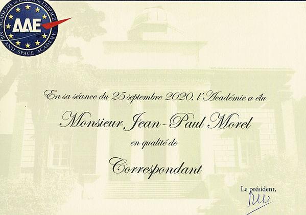 Diplôme Jean-Paul Morel académie de l'air et espace AAE