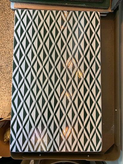 LAVASTEN - Mønstret Hvid/Grøn