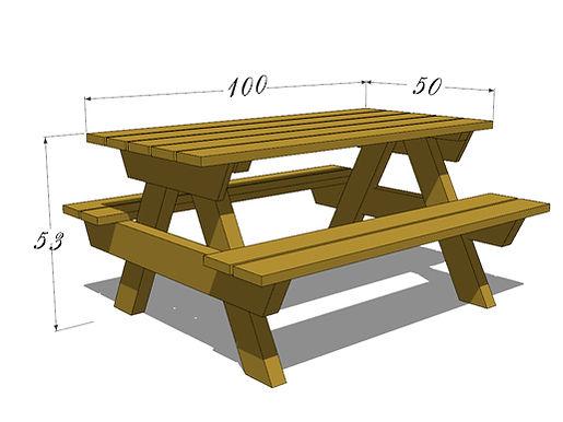 שולחן פיקניק לילדים מידות כלליות