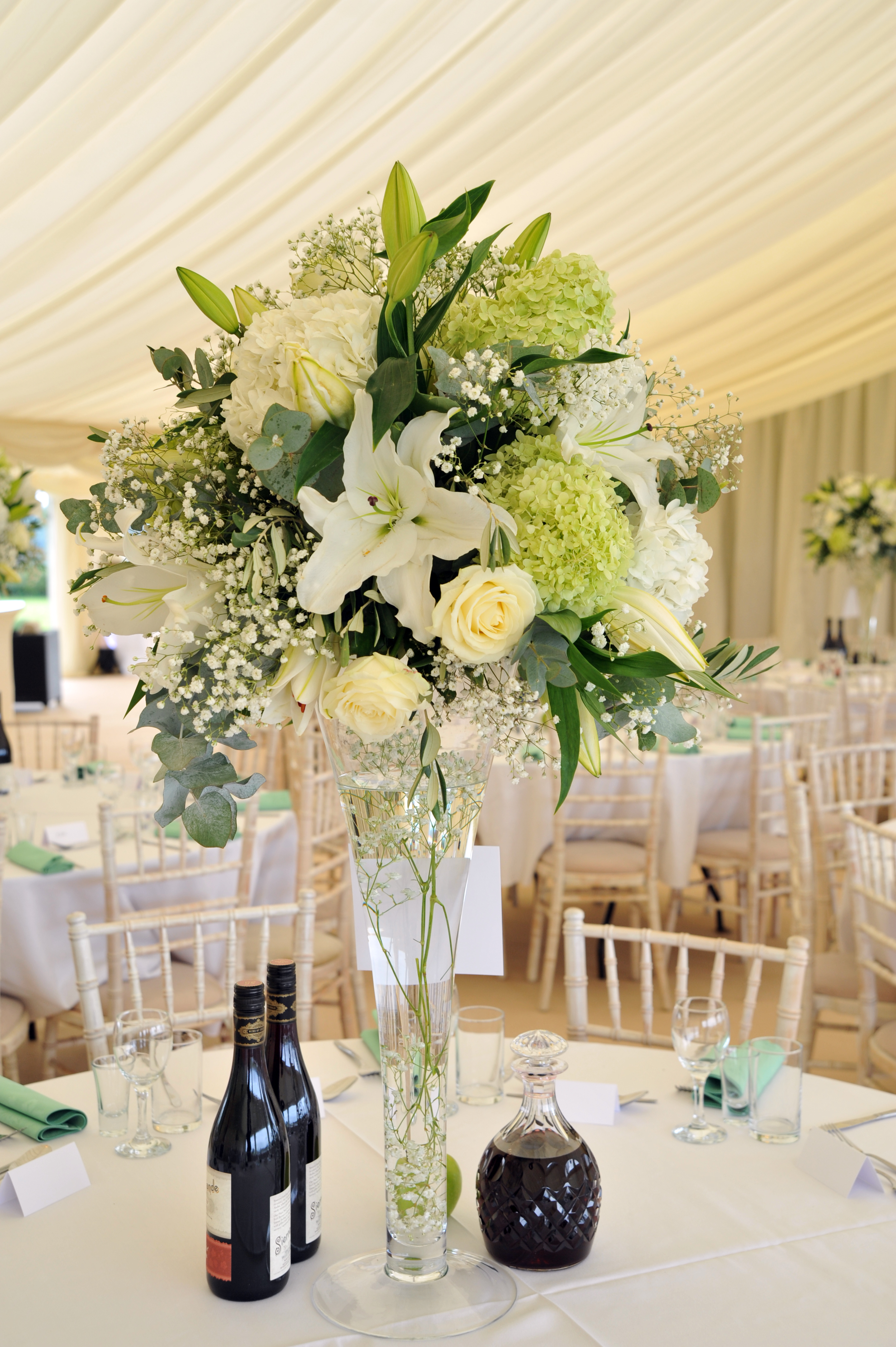 Large white and green centrepieces