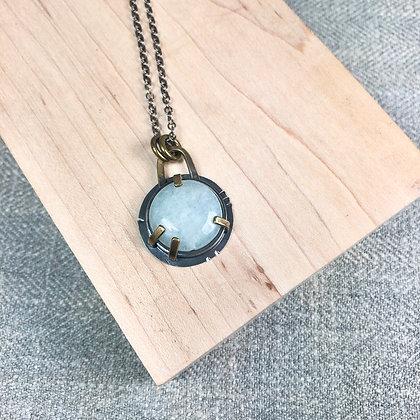 Industrial stones pendant #4 Aquamarine
