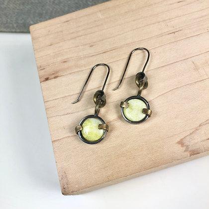 Industrial stones earrings #6 lime jade