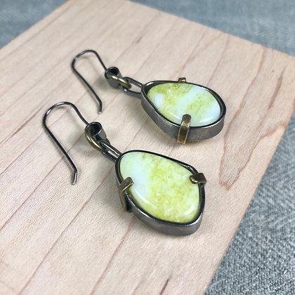 Industrial stones earrings #3 lime jade