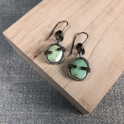 Industrial stones earrings #12 Chrysophase