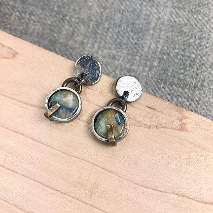 Industrial stone earrings #11 Peruvian Opal