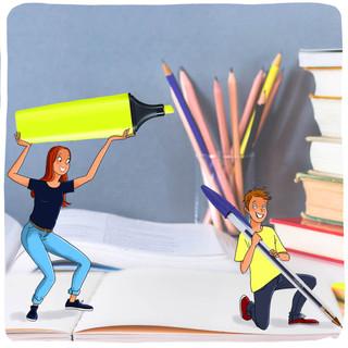 """Illustrations pour les manuels scolaires belges """"Réussir le CE1D"""" - Editions de Boeck"""