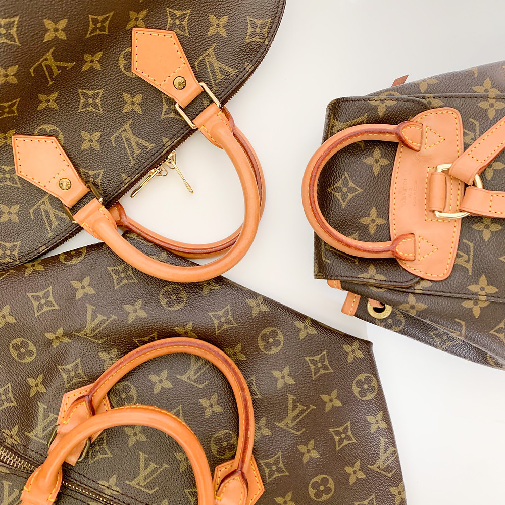 Luxuxy brand Louis Vuitton's bag with signature print