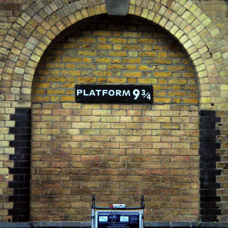 Kings Cross, Platform 9 and three quarters featured in Harry Potter